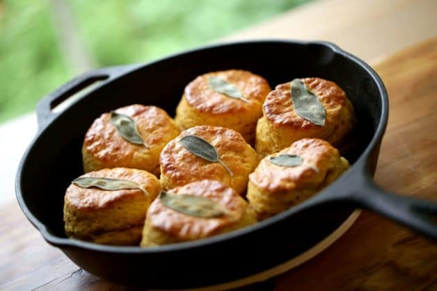 Sweet Potato Biscuits with sage in a cast iron skillet