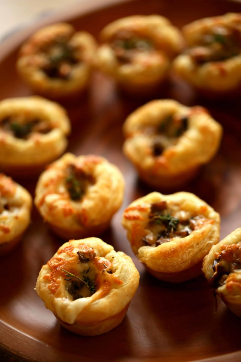 Mushroom Tarts made with puff pastry for 3 Puff Pastry Appetizer Ideas