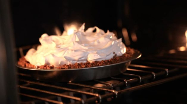 S'More Pie Recipe going into oven