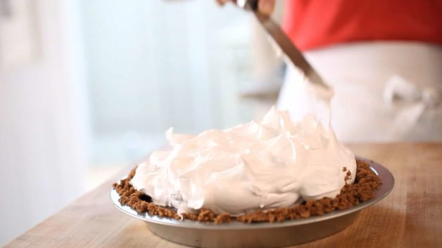 S'More Pie Recipe with homemade marshmallow on top