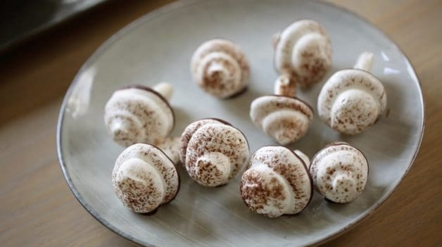 Meringue Mushrooms for a Buche de Noel Recipe