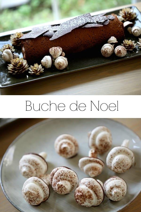Collage of Buche de Noel Recipe images
