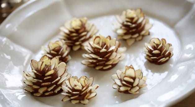 Fondant Pinecones for a Buche de Noel Recipe