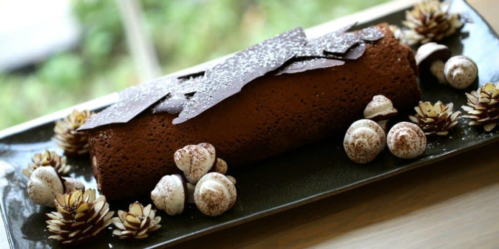 Buche de Noel cake on platter