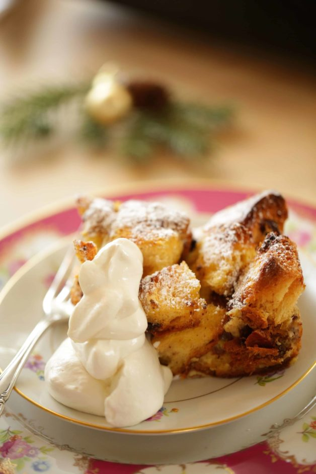 Panettone Bread Pudding Recipe with homemade whipped cream