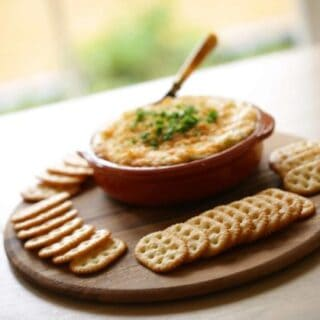 Hot Appetizer Dip and Crackers
