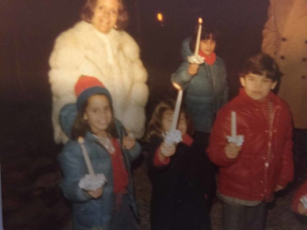 Beth Le Manach and Family at Christmas in 1977