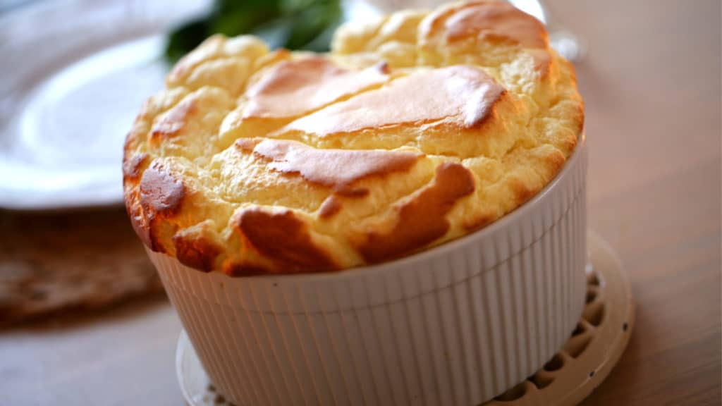 cheese souffle in a souffle dish