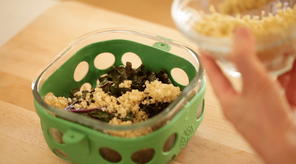 Kale and Quinoa in a Salad Container