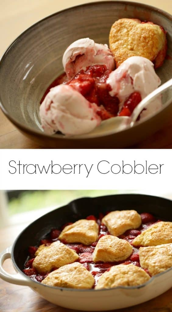 strawberry cobbler recipe served in a large bowl with strawberry ice cream