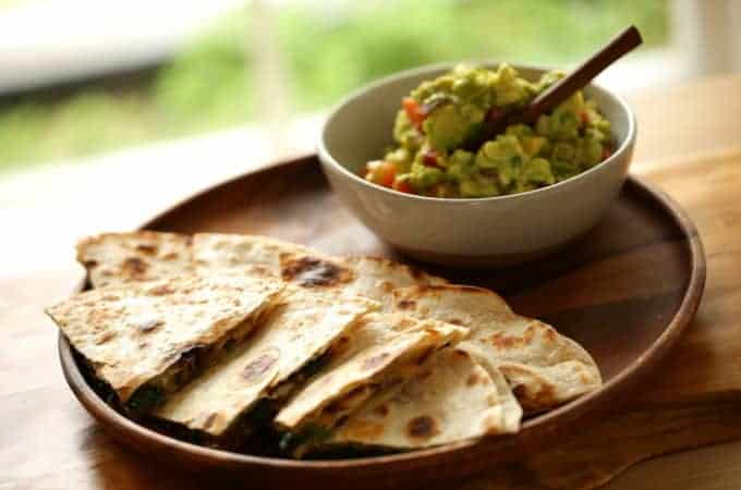 Veggie Quesadilla with Chunky Guacamole