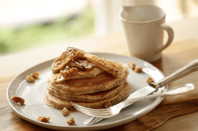 Whole Wheat Pancakes with Brûléed Bananas