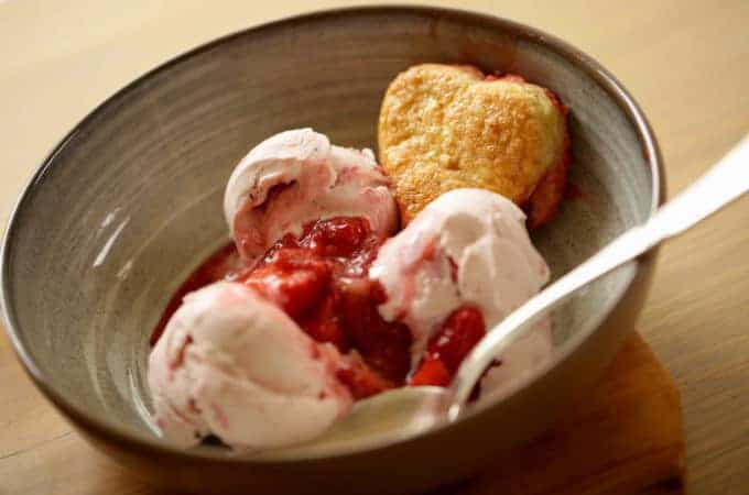 Strawberry Cobbler with Heart Shaped Biscuits