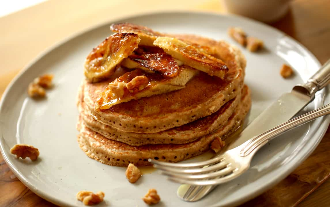 Whole Wheat Pancakes with Bruleed Bananas