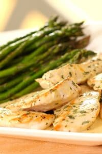 Chicken Dijon with asparagus