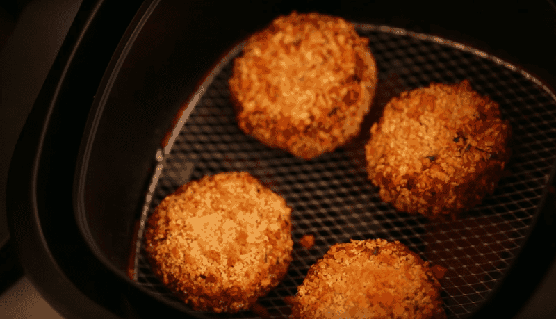 easy crab cake recipe cooked to golden brown in an air fryer
