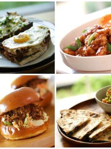 a collage of 4 easy dinners for meal planning