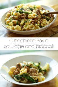Collage of Orecchiette Pasta with Sausage and Broccoli