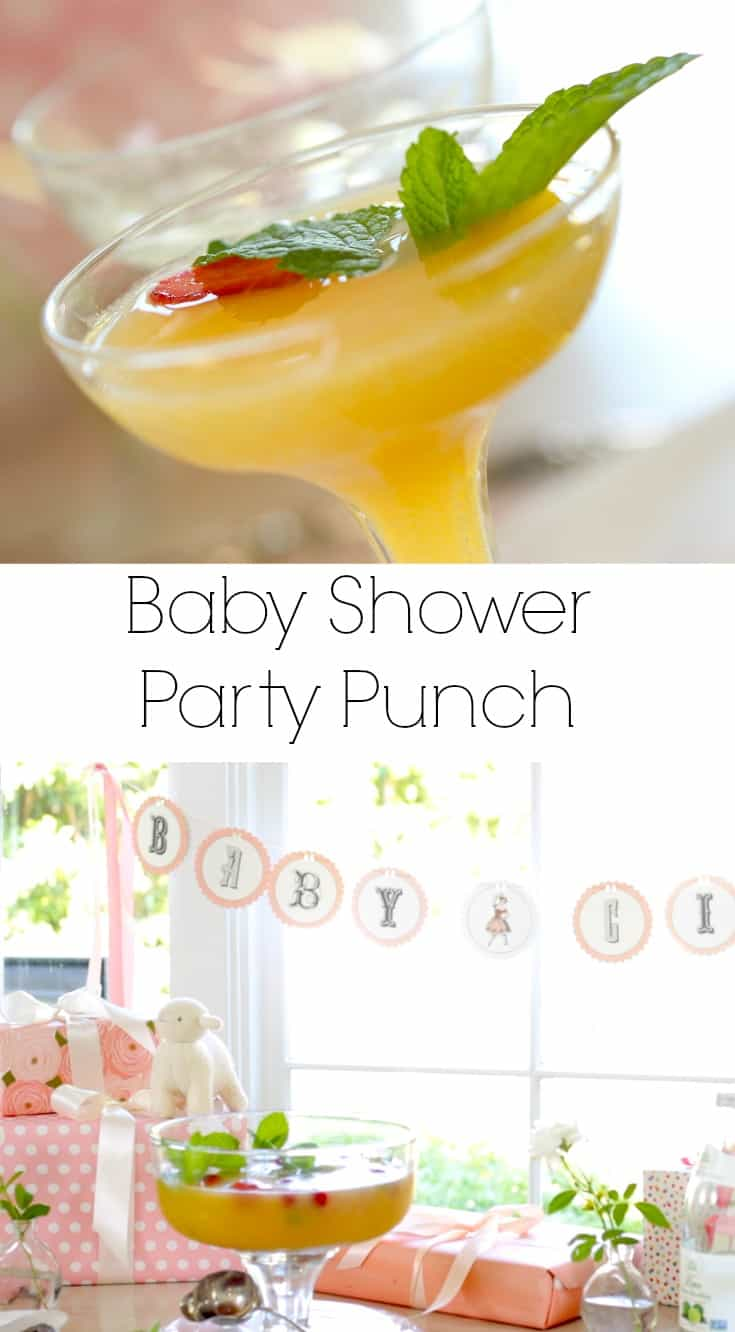 a festive party punch recipe that is perfect for a baby shower bridal shower or