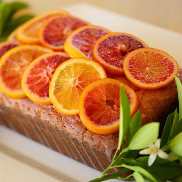 Blood Orange Pound Cake on a white platter