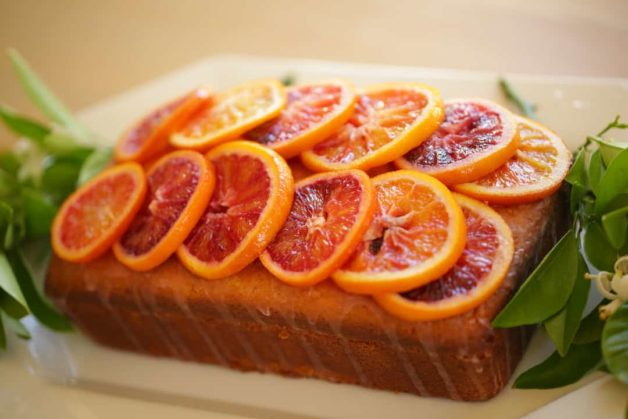 Blood Orange Pound Cake with candied oranges on top