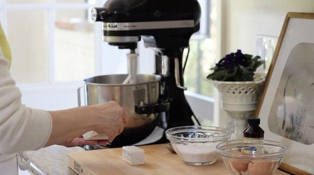 Placing butter in a kitchen aid mixer