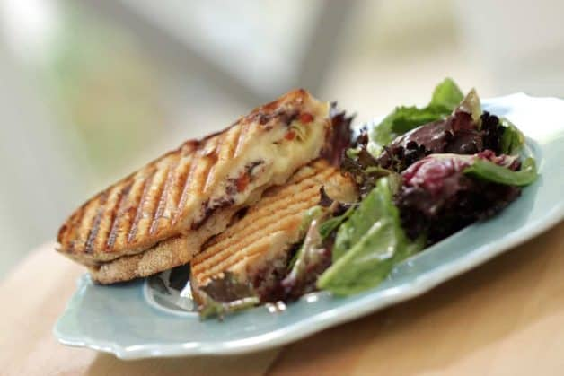 Vegetarian Panini Recipe with salad on a plate