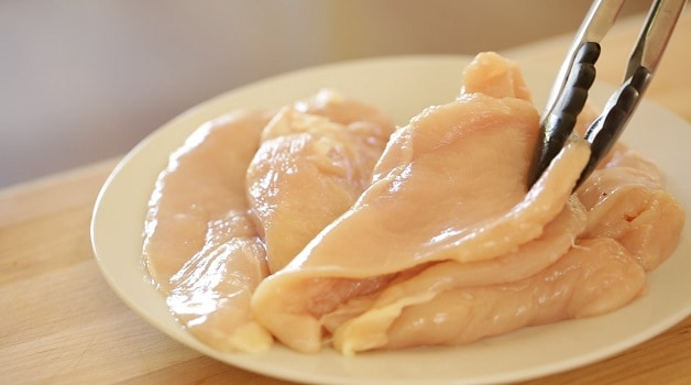 Raw chicken for fajitas