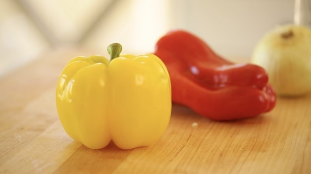 Bell peppers on cutting board