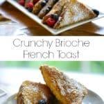 Crunchy Brioche French Toast on white rectangular platter