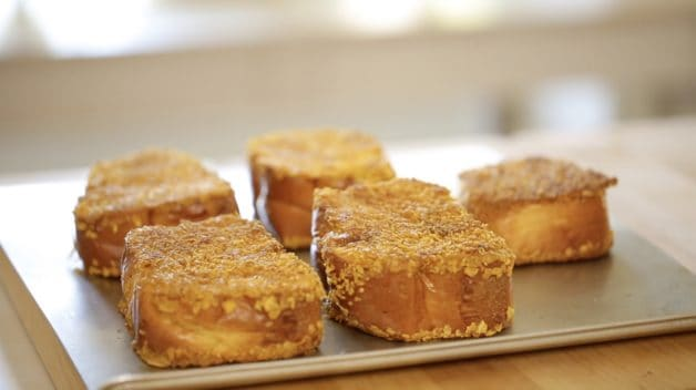 Crunchy Brioche French Toast on a baking sheet