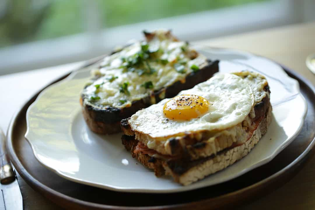 Croque Monsieur and Croque Madame Sandwiches on a plate
