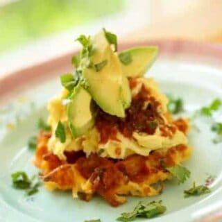 Mexican Scramble on Hash Brown Potato Waffles