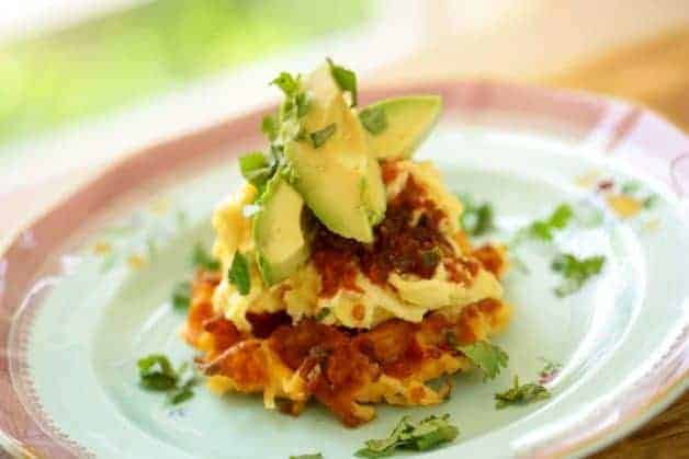 Mexican Scramble on Hash Brown Potato Waffles
