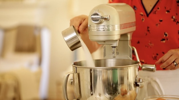 Adding sugar to a stand mixer