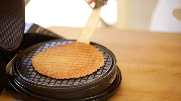Homemade waffle cone being made