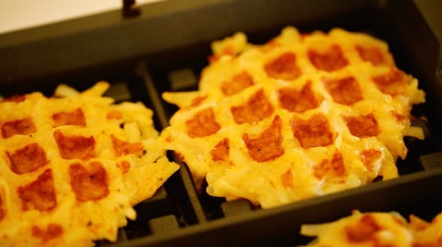 Golden Hashbrown Waffles pressed on waffle iron