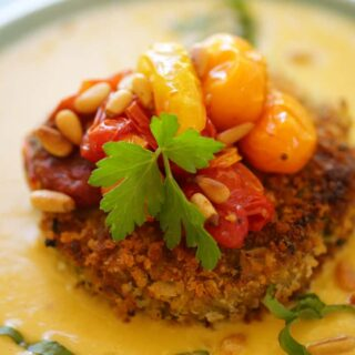 Vegan Quinoa Cakes with Corn Puree and Roasted Tomatoes