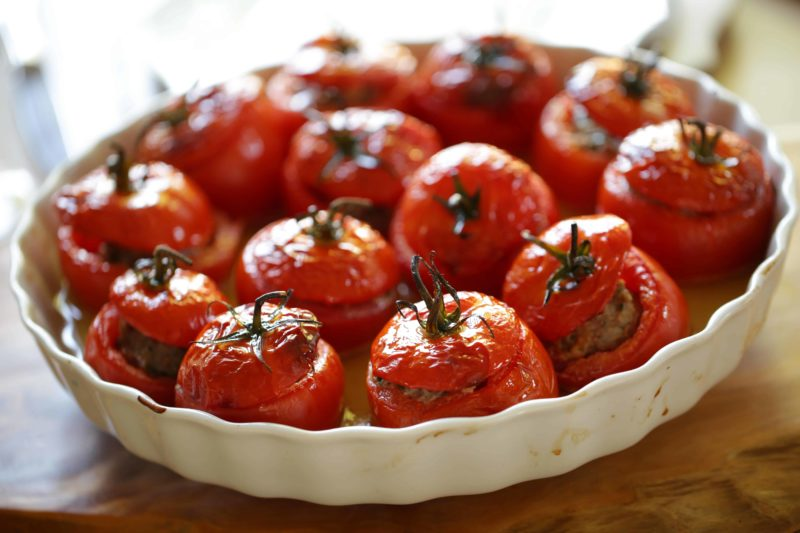 Beth's Tomate Farcie Recipe in a white gratin dish