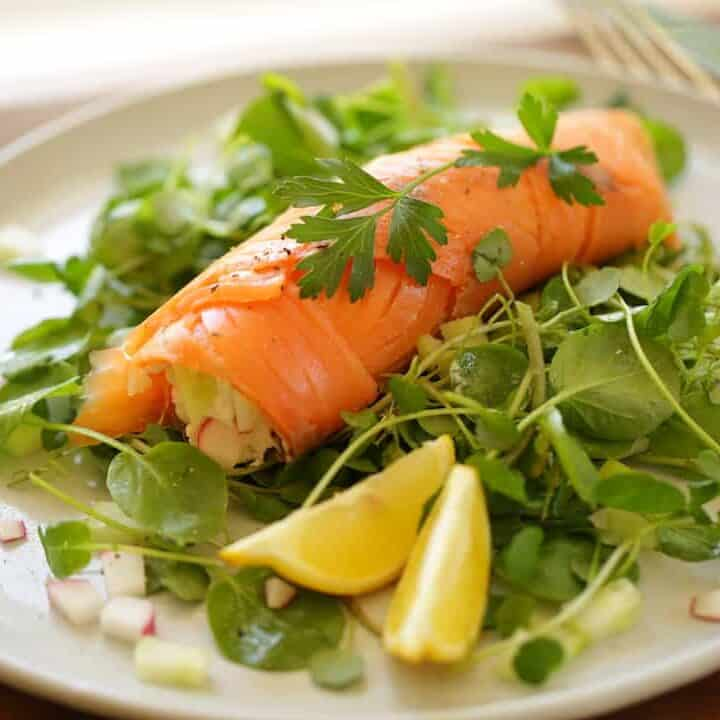 15-Minute Smoked Salmon Roulade with Cucumbers and Radish