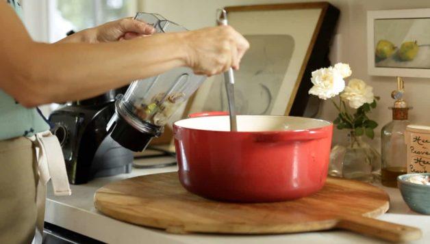 Cream of Mushroom Soup with Crispy Leeks