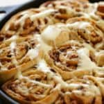 Vertical image of overnight cinnamon Rolls