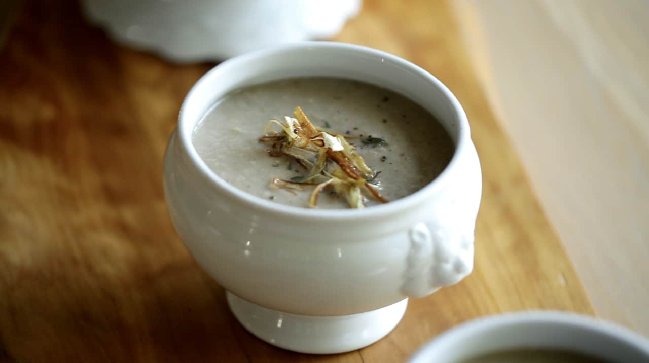 Cream of Mushroom Soup with Crispy Leeks