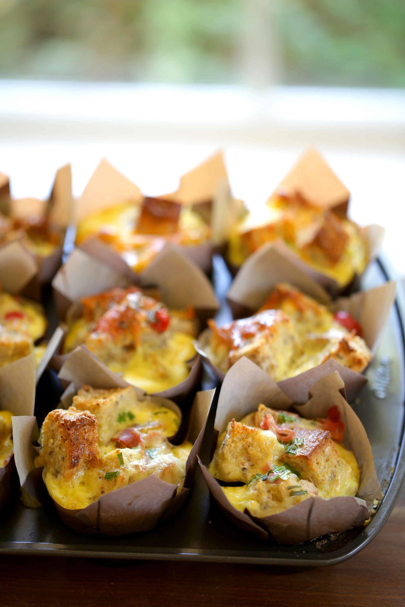 3 Mini Egg Stratas in a Muffin Tin