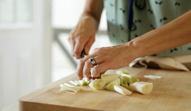 Chopping leeks for Cream of Mushroom Soup with Crispy Leeks