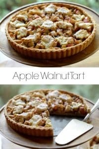 Apple Pie with Raisins and Walnuts on a Cake Stand