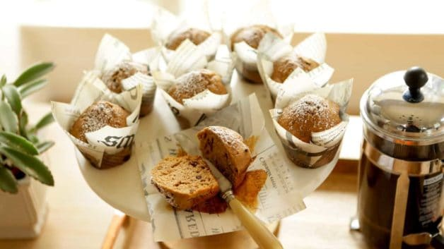Cappuccino Muffin Recipe in newspaper papers with French Press Coffee