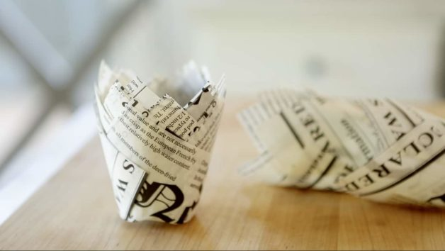 Newspaper Muffin Papers for a Cappuccino Muffin Recipe