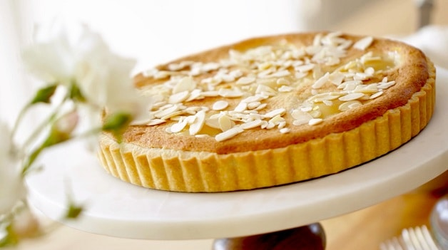 Baked Tart with Almonds on Cake STand