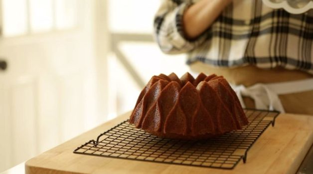 Apple Spice Cake Recipe on cooling rack